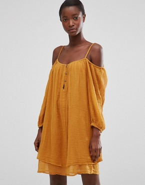 photo Off The Shoulder Loose Fit Dress by Mango, color Light Brown - Image 2