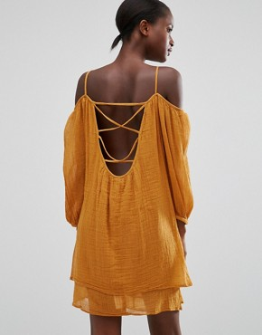 photo Off The Shoulder Loose Fit Dress by Mango, color Light Brown - Image 1