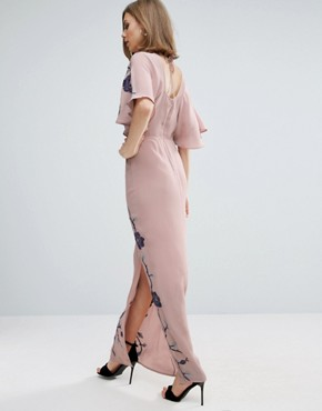 photo Maxi Dress with Embroidery by ASOS PREMIUM, color Lilac - Image 2
