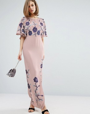 photo Maxi Dress with Embroidery by ASOS PREMIUM, color Lilac - Image 1