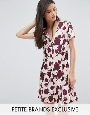 photo Button Front Short Sleeve Dress In Floral Print by Alter Petite, color  - Image 1