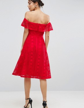 photo Lace Off Shoulder Midi Dress by ASOS, color Red - Image 2