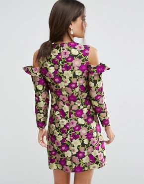 photo Cold Shoulder Jacquard Floral Shift Dress by ASOS, color  - Image 2