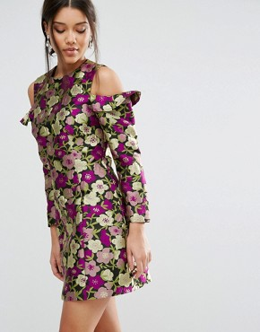 photo Cold Shoulder Jacquard Floral Shift Dress by ASOS, color  - Image 1