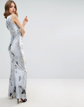 photo 40s Seamed Maxi Dress in Silver Rose Print by ASOS WEDDING, color  - Image 2