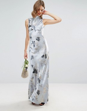 photo 40s Seamed Maxi Dress in Silver Rose Print by ASOS WEDDING, color  - Image 1