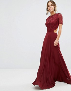 photo Lace Bodice Maxi Dress with Cut Out Detail by John Zack Petite, color Berry - Image 2
