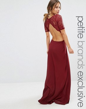 photo Lace Bodice Maxi Dress with Cut Out Detail by John Zack Petite, color Berry - Image 1