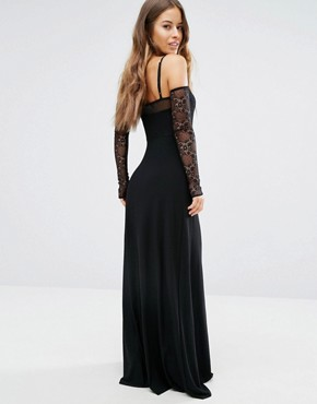 photo Plunge Front Maxi Dress with Off Shoulder Sleeve Detail by John Zack Petite, color Black - Image 2