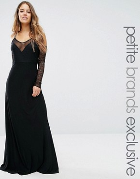 photo Plunge Front Maxi Dress with Off Shoulder Sleeve Detail by John Zack Petite, color Black - Image 1
