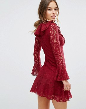 photo High Neck All Over Lace Skater Dress with Layered Frill Hem by John Zack Petite, color Berry - Image 2
