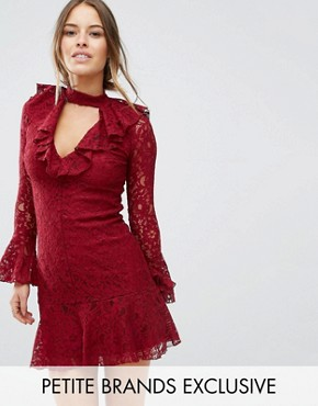 photo High Neck All Over Lace Skater Dress with Layered Frill Hem by John Zack Petite, color Berry - Image 1