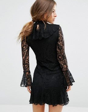 photo High Neck All Over Lace Skater Dress with Layered Frill Hem by John Zack Petite, color Black - Image 2