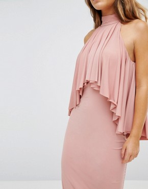 photo High Neck Midi Bodycon Dress with Ruffle Front Detail by John Zack Petite, color Rose Pink - Image 2