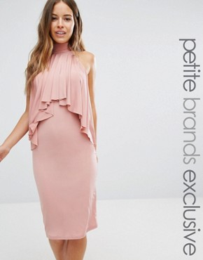 photo High Neck Midi Bodycon Dress with Ruffle Front Detail by John Zack Petite, color Rose Pink - Image 1