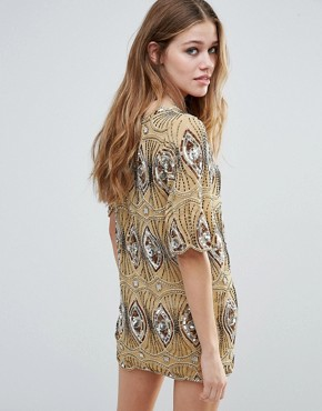 photo Sarah Embellished Tunic Dress by Raga, color Driftwood - Image 2