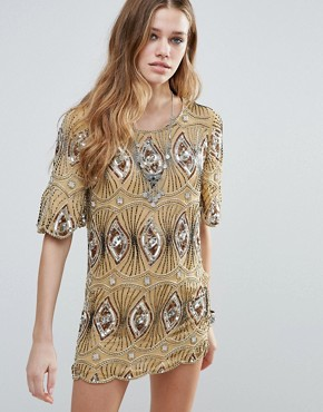photo Sarah Embellished Tunic Dress by Raga, color Driftwood - Image 1