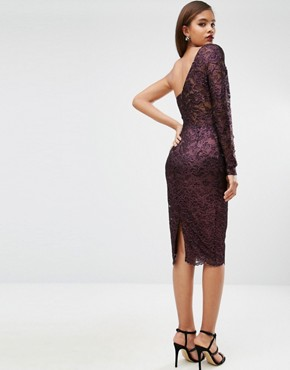 photo Lace Panelled Pencil Dress by ASOS TALL RED CARPET, color Purple/Black - Image 2
