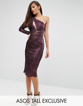 photo Lace Panelled Pencil Dress by ASOS TALL RED CARPET, color Purple/Black - Image 1