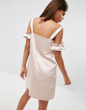 photo Satin Cold Shoulder Raw Shift Dress by ASOS TALL, color Nude - Image 2