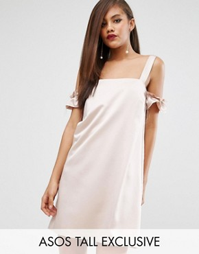 photo Satin Cold Shoulder Raw Shift Dress by ASOS TALL, color Nude - Image 1