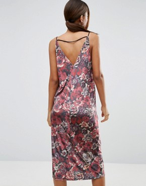 photo Velvet Cami Midi Dress in Floral by ASOS TALL, color  - Image 2