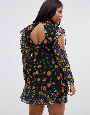 photo Mixed Print Mini Dress with Cold Shoulder and Frill by ASOS CURVE, color  - Image 2