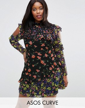 photo Mixed Print Mini Dress with Cold Shoulder and Frill by ASOS CURVE, color  - Image 1