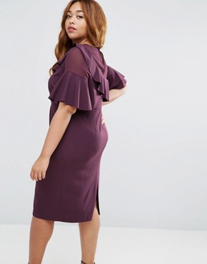 photo Wiggle Dress with Woven Sheer Panel and Frill Detail by ASOS CURVE, color Oxblood - Image 2