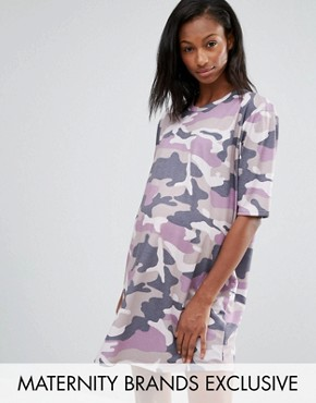 photo Camo T-Shirt Dress by Missguided Maternity, color Mauve - Image 1