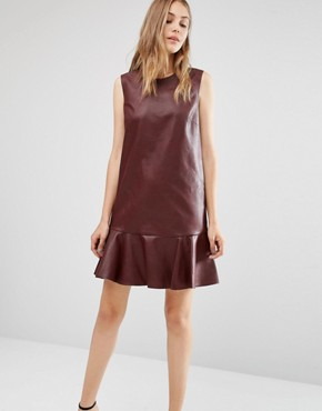 photo Leather Look Sleeveless Round Neck Dress by BCBG Max Azria, color Red - Image 1