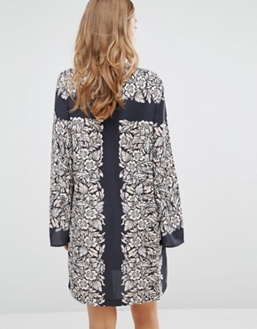 photo Bell Sleeve Tunic Dress in Garden Scarf Print by BCBG Max Azria, color  - Image 2