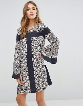 photo Bell Sleeve Tunic Dress in Garden Scarf Print by BCBG Max Azria, color  - Image 1