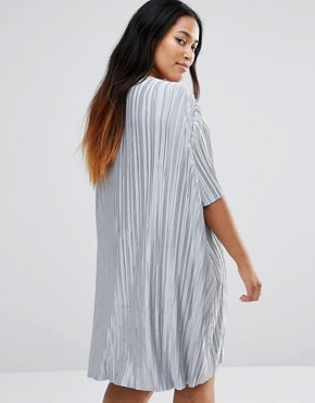 photo Plisse T-Shirt Swing Dress by Alice & You, color Silver - Image 2