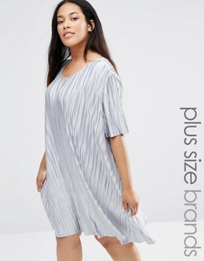 photo Plisse T-Shirt Swing Dress by Alice & You, color Silver - Image 1