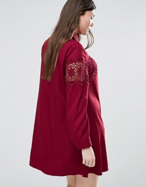 photo Lace Insert Folk Shirt Dress by Alice & You, color Burgundy - Image 2