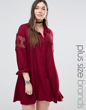 photo Lace Insert Folk Shirt Dress by Alice & You, color Burgundy - Image 1