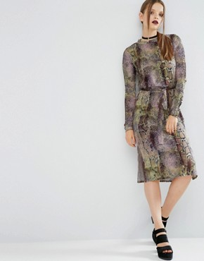 photo Bright Snake Print Self-Tie Midi Dress by ASOS, color  - Image 1