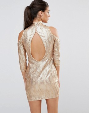 photo High Neck Sequin Mini Dress with Cold Shoulder by TFNC, color Gold - Image 2