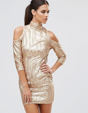photo High Neck Sequin Mini Dress with Cold Shoulder by TFNC, color Gold - Image 1