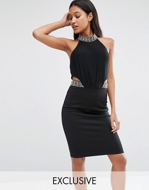 photo Midi Bodycon Dress with Embellished Trim by TFNC, color Black - Image 1