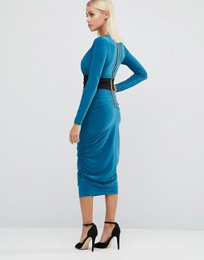 photo Long Sleeve Pencil Dress With Contrast Waistband by Hedonia, color Teal - Image 2