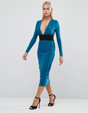 photo Long Sleeve Pencil Dress With Contrast Waistband by Hedonia, color Teal - Image 1
