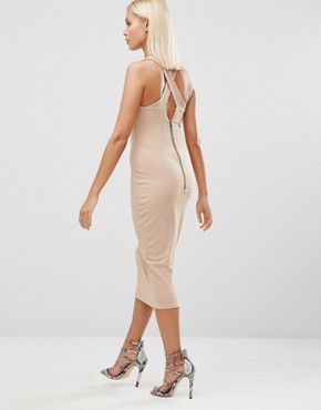 photo Midi Pencil Dress with Lace Up Front by Hedonia, color Camel - Image 2