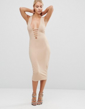 photo Midi Pencil Dress with Lace Up Front by Hedonia, color Camel - Image 1
