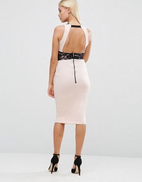 photo Pencil Dress with Lace Insert by Hedonia, color Blush - Image 2