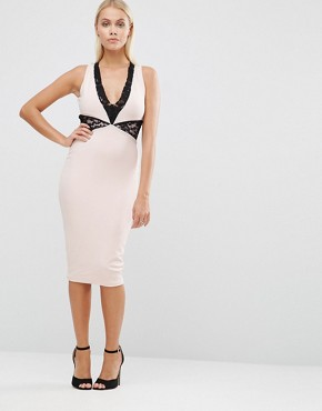 photo Pencil Dress with Lace Insert by Hedonia, color Blush - Image 1