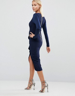 photo Long Sleeve Pencil Dress with Ruffle Front by Hedonia, color Navy - Image 2