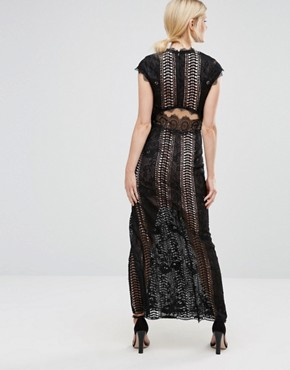 photo Allover Lace Crochet Maxi Dress with Thigh Split by True Decadence Petite, color Black - Image 2