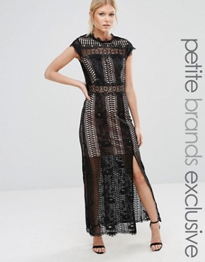 photo Allover Lace Crochet Maxi Dress with Thigh Split by True Decadence Petite, color Black - Image 1